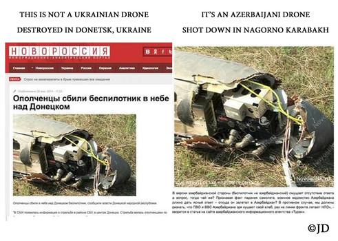 Това не е украински дрон, свален в Донецк, а азербайджански дрон, свален в Нагорни Карабах [11].