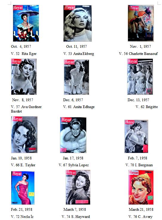 Hayat magazine of 1957-1958.
